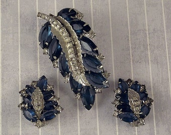 Vintage Blue Leaf Pin Earrings Set, Rhinestone Leaves Brooch Clip On Demi Parure, 1950s Foliage Fall Autumn Jewelry
