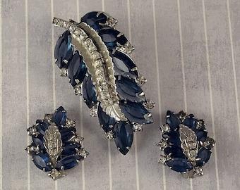 Vintage Blue Leaf Pin Earrings Set, Rhinestone Leaves Brooch Clip On Demi Parure, 1950s Foliage Fall Autumn Jewelry