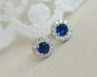 Blue Sapphire Earrings, Sapphire Bridal Earrings, Sterling Silver CZ Blue Sapphire Stud Earrings,Round CZ Stud Earrings,Bridesmaids Earrings