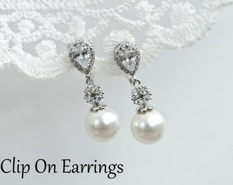 Clip On Earrings, Bridal Pearl Earrings, Clip On Bridal Pearl Earrings, Bridesmaids Earrings, Cubic Zirconia and Swarovski Pearl Earrings