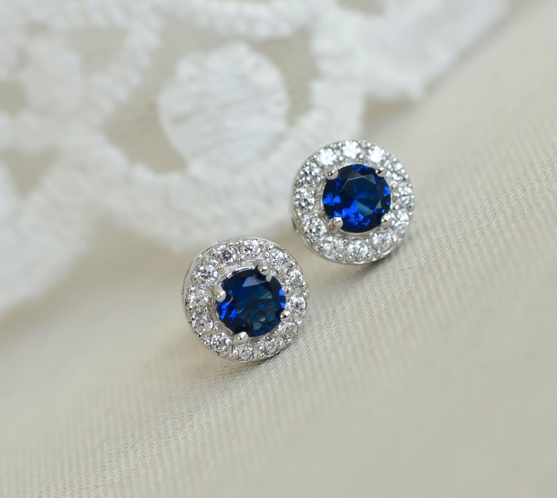 blue sapphire earrings sapphire bridal earrings sterling. Black Bedroom Furniture Sets. Home Design Ideas