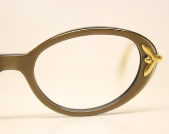 NOS B&L Brown Gold cat eye glasses vintage cateye frames eyeglasses NOS