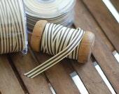 "50 YARD Spool of Ribbon - 3/8"" Wide Striped Grosgrain Ribbon - SLATE + IVORY"