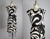 60's Mod Dress // Vintage 1960's Adele Simpson Black White Swirl Cocktail Party Mod  Dress S
