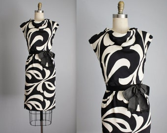60's Mod Dress // Vintage 1960's Adele Simpson Black White Swirl Cocktail Party Mod  Dress S