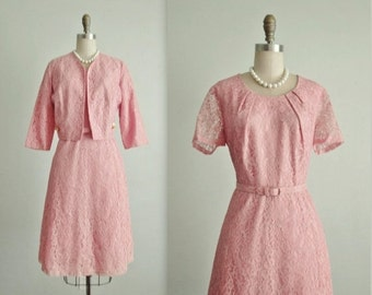 STOREWIDE SALE 50's Lace Dress & Jacket  // Vintage 1950's Pale Pink Lace  Full Cocktail Party Dress Jacket Set L