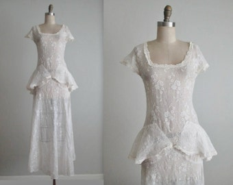 30's Eyelet Dress // Vintage 1940's Eyelet Organdy Full Length Wedding Day Dress Gown