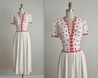 40's Beaded Dress // Vintage 1940's Red & White Beaded Rayon Gown S