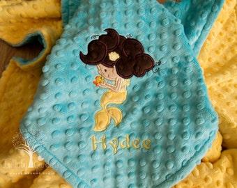 Mermaid Appliqued Minky Blanket, Personalized Minky Baby Blanket, Baby Girl Minky Blanket, Personalized Baby Gift, Mermaid Nursery