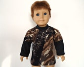 18 inch boy doll shirt layered look brown camouflage black white winter long sleeves