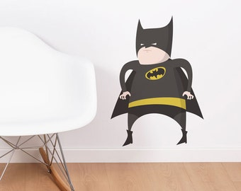 Fat Batman Wall Sticker, Wall Deca,l Kids decal, Living Room Wall Decal,  Removable & Repositionable