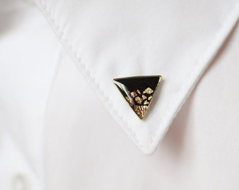 Black Gold Triangle collar brooch - Geometric collar pin - tiny round clips