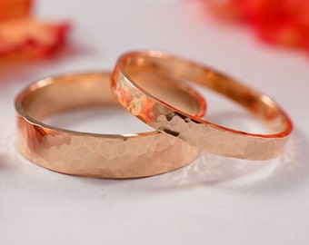 Rose Gold Wedding Bands: A Set of his and hers 9k Rose Gold wedding rings