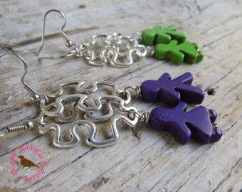 Autism Awareness Earrings, Autism Puzzle Earrings, Long Puzzle Piece Earrings, by MagpieMadness for Etsy