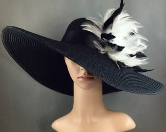 Black White Kentucky Derby Hat with hand trimmed feathers,  Formal Hat