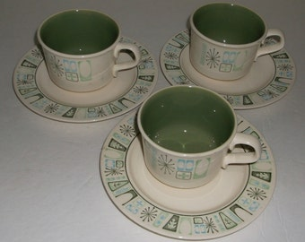 3 Sets Vintage Atomic MidCentury Taylorstone Cathay Tea Coffee Cups & Saucers