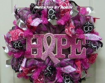 Breast Cancer Awareness Wreath, Hope Wreath