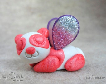 Panda Nap - A Happy Napping Panda Fairy (Pink and white panda with purple, pink & silver wings)