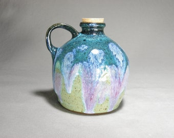 Wheel thrown jug, stoneware jug, syrup pottle, kitchen decor.