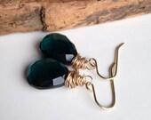 Emerald Green Quartz Earrings, Dark Green Briolette Earrings, Dangle Earrings, Drop Earrings, Gold Filled Wire Wrapped Earrings