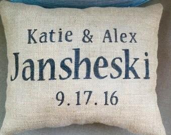 Wedding pillow, Anniversary pillow, wedding gift ,wedding keepsake, burlap pillow, anniversary gift, bridal shower gift, personalized pillow