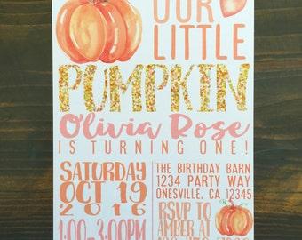 printable pumpkin first birthday invitation, custom pumpkin birthday invite, pink and orange watercolor pumpkin invite, watercolor pumpkin