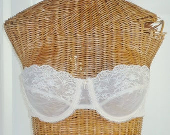 Vanity Fair Sheer Strapless Bra Underwire new Old Vintage Stock 34B