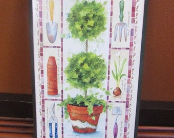 """Spiritual Wood Gardening Plaque 9"""" by 5"""" with back hanger multicolors"""