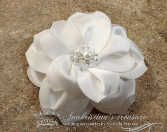 Champagne Satin Hair Flower, Vintage Style Bridal