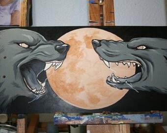 Hand Painted Skateboard Full Moon Wolves