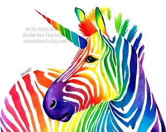 5x7, 8x10, or apprx 11x14 in Art Print - Rainbow Zebra Unicorn - Colorful Pop Art Zebracorn