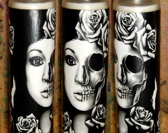Prayer Candle - In A Trance - Tattoo Art Half Skull Girl Pprtrait - Decorative Home Decor Functional Art Candle