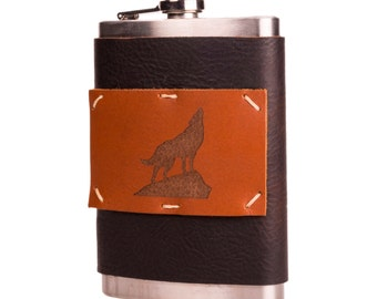 Midnight Espresso 8 oz Leather + Stainless Steel Flask with Howling Wolf (F8-37)