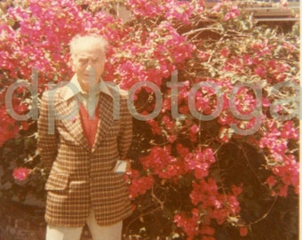 Vintage Photo, Elderly Man in Garden, Color Photo, Found Photo, Family Photo, Old Photo, Snapshot, Vernacular Photo, 1980's Photo