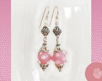 Hook Earrings 12mm Pink Lampwork Round Bumpies Fancy Pewter Beads Bead Caps Ornate TierraCast Pewter Spacers Sterling Silver Ear Wires Hooks