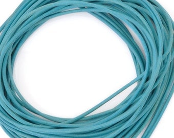 Leather-1.3mm Round Cord-Turquoise-Made in Germany-1 Meter