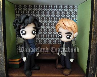 SALE - Sherlock and John - Inside 221B Baker Street - ORIGINAL OOAK Miniature Sculpture - Framed Surface Decor