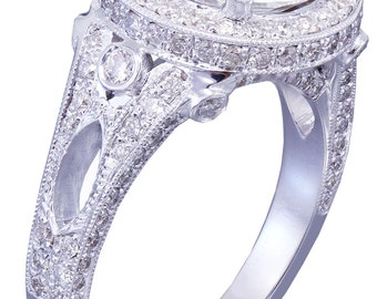 18k white gold round cut forever one moissanite and diamond engagement ring art deco 3.70ctw