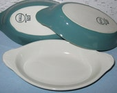 Hall China Au Gratin Dishes / White and Turquoise / Vintage Hall Dishes