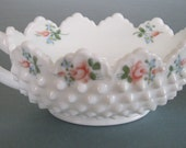 Fenton Milk Glass / Hand Painted Signed Candy Dish / Hobnail Milk Glass