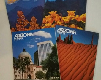 4 Vintage issues of Arizona Highways magazine 1975, 1977, 1979, 1980