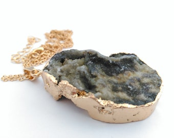 Natural Green Grey Druzy Gold Plated Necklace