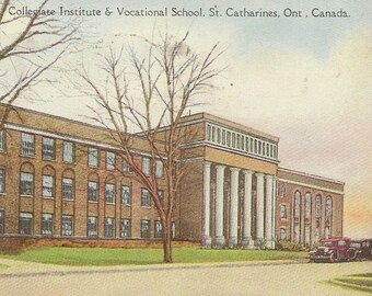 St. Catharines Ontario Vintage Postcard – Collegiate Institute and Vocational School 1929 – Great Parcel Post Slogan Cancel