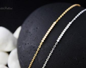 Rhinestone Bar Bracelet in Gold/ Silver. CZ Bracelet. Sparkling. Simple Modern. Formal. Everyday Wear. Gift For Her (PBL-02)