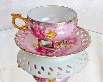 Vintage Royal Halsey Pink Cup and Saucer Pink and Yellow Roses Gold Gilded Pearl Opal