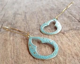 Patina Moroccan Keyhole Earrings, Patina Tear Drop, Moroccan Earrings, Teardrop Earrings, Bohemian Earrings, Bohemian Jewelry