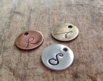 Initial Disc Add-On, Initial Tag, Monogram Tag, Personalized Jewelry, Choose Aluminum, Brass, Copper, Sterling Silver