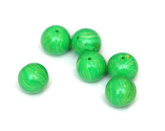 10mm Round Light Green Polymer Clay Beads 6 Pieces DIY Jewelry Supply Greenery