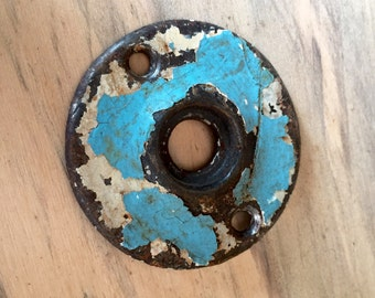 Old Door Rosette with Chippy Blue and White Paint