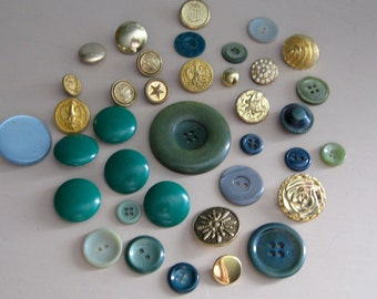 Buttons Vintage Gold and Green Variety of materials and styles